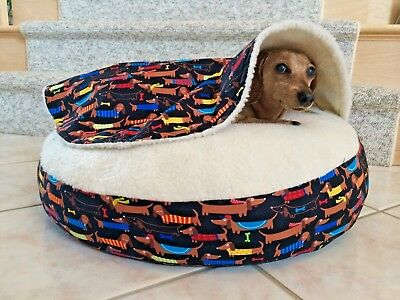 NEW Dachshund Small Dog Bed Snuggle Bed for Burrowing Dog Fun Doxie Print