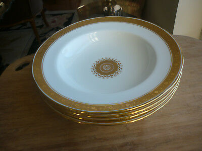 Set Of 4 Minton 24K Gold Encrusted Soup Bowls For Davis Collamore & Co.