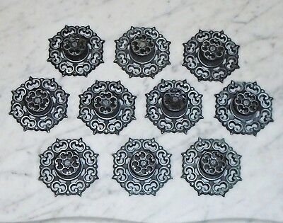10 Vintage Antique Silver Amerock Cabinet Drawer Pull Knobs w Backplates