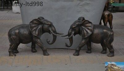 Huge Old China Pure Bronze Fengshui animal auspicious Lucky Elephant statue pair