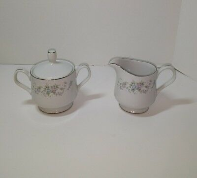 Creamer & Covered Sugar Bowl Carlton Japan Corsage 481 Floral