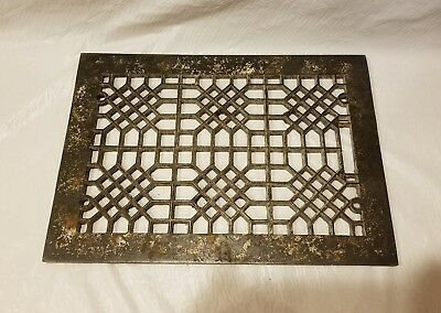 Antique Cast Iron Heat Grate Floor Vent Register Vtg Honeycomb Old 12x8 in
