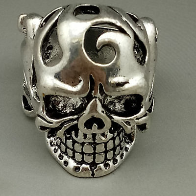 Chinese Exquisite Tibet silver Fashion Skull Ring