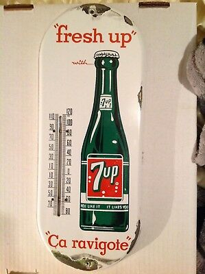 Vintage 7UP Porcelain THERMOMETER Advertising Sign