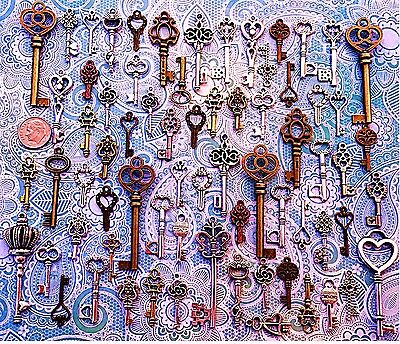 62 Antique Vtg Old Look Bronze Skeleton Keys Lot Pendant Heart Jewelry E13
