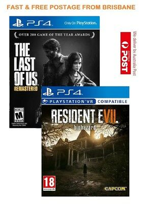 The Last of Us Remastered + Resident Evil 7 PS4 Game Bundle Brand New In Stock