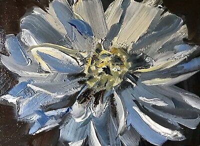ACEO Original Oil Painting, White Flower by Gary Bruton