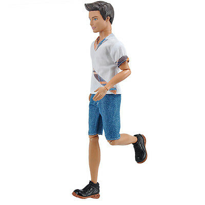 E-TING Doll White Shirt Short Jeans Pants Clothes Outfit For Barbie Ken Dolls A