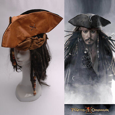 Pirates of the Caribbean Jack Sparrow Tri Corner Buccaneer Hat Wig Halloween