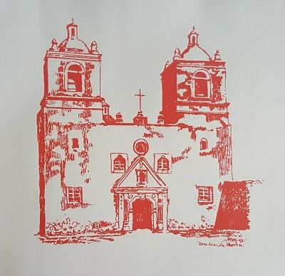 6 Vintage screen prints, posters, Texana, Texas history, Alamo, missions, forts