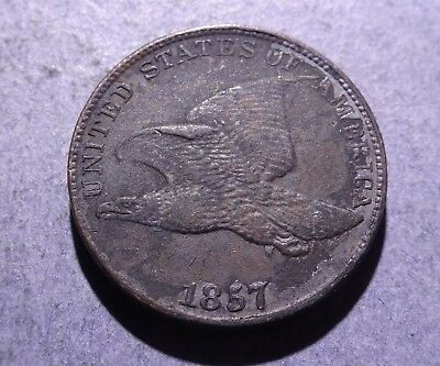 1857 Flying Eagle Cent XF details