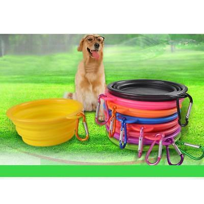Travel Folding Silicone Pet Dog Cat Feeding Water Food Bowl Cup with Carabiner
