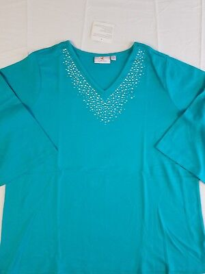 Quacker Factory NWT 2X Tunic & Capris -2-pc set - Turquoise or Navy Blue- Resort
