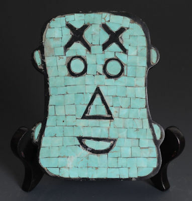 Chinese QiJia Style All Turquoise Inlaid Sacrificial Ceremony Jade Mask-JR10250