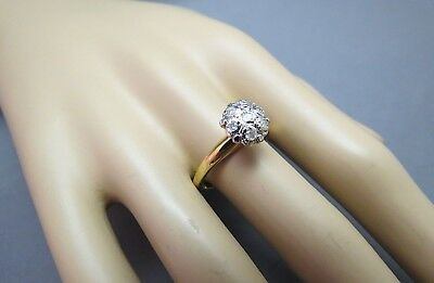 18k HGE Ring Gold Plated Costume Rhinestones Faceted Stones Size 8.75 Cluster