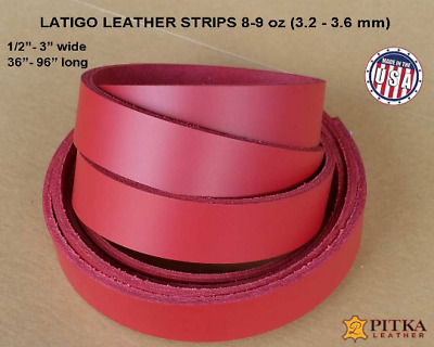 Latigo Red Leather Strips 8-9 oz - up to 96 in long - Craft, Jewelry, Engraving