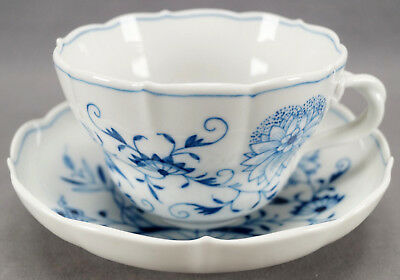 Early 20th Century Meissen Hand Painted Blue Onion Large Oversize Cup & Saucer
