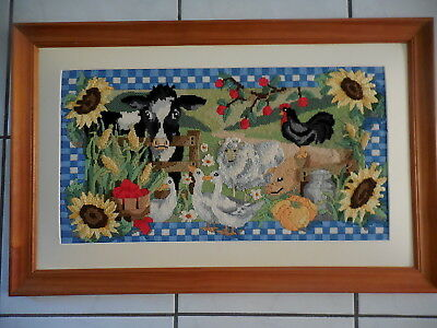 Tapestry 3D Picture Farmyard Cow Pig Sheep Geese Completed & Framed