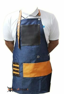 Professional Leather Hairdressing Barber Apron Cape for Barber Hairstylist Blue