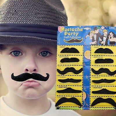 12x Self adhesive Assorted Fake Moustache Mustache Set Fancy Dress Party