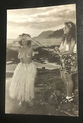 Modern Reprint Of Vintage Hawaiian Photo Showing Topless Hula And Ukulele Friend
