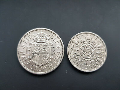 Großbritannien Half CROWN 1959  Two SHILLINGS 1956  VZ