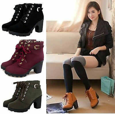 UK Women Chunky Ankle Boots High Block Heel Lace Up Buckle Zip Casual Shoes Size