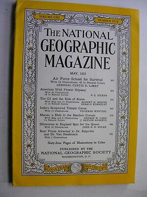 NATIONAL GEOGRAPHIC May 1953 Air Force School Curtis LeMay GIs in Korea Macau