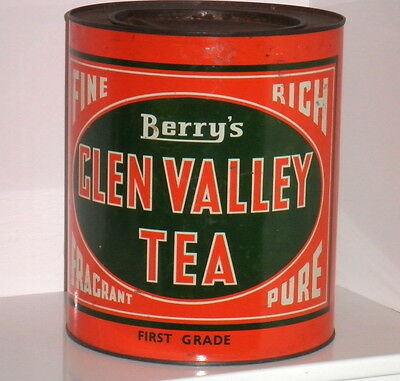VINTAGE AUST. HENRY BERRY & CO. LARGE GLEN VALLEY 6lbs FIRST GRADE TEA TIN