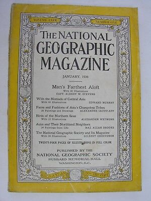 NATIONAL GEOGRAPHIC January 1936 Stratosphere Balloon Central Asia Nomad Tribes