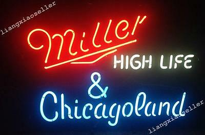 "17""X14"" Miller High Life & Chicago Land Beer Bar REAL NEON LIGHT SIGN Free Ship"
