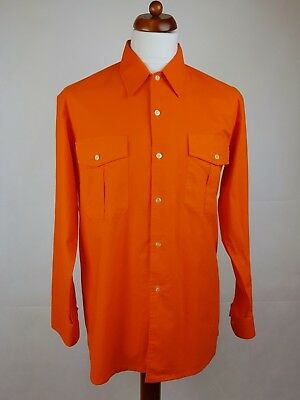 "Vtg 1970s Long Sleeve Sports Collar Orange Cotton Shirt Disco  -17""/L- EX19"