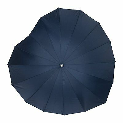 Soake Boutique Heart Shape Long Stick Umbrella (Navy)