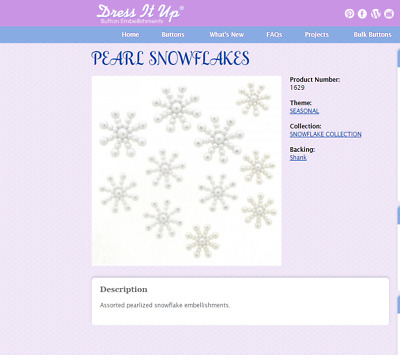 Dress It Up Button Embellishments - Pearl Snowflakes