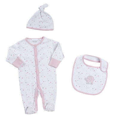 Baby Girls Sleepsuit Hat and Bib Prem Early Baby up to 5lbs Slight Seconds
