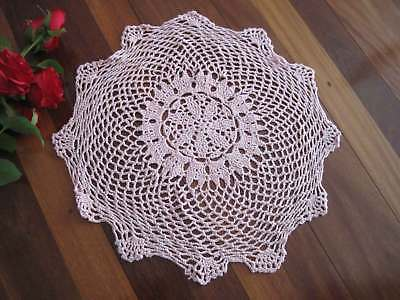 Pretty Hand Floral Crochet Cotton Pink Doily Round Table Topper 40CM