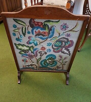 Traditional vintage tapestry oak fire screen