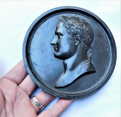 NO RESERVE LARGE Lead Plaque of Napoleon by Andrieu Vintage Antique