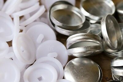 500 x 30L Button Blanks Cover Non Astro Sets White Metal Plastic 19mm Upholstery