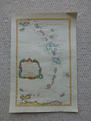 Map of the Caribbean  -  Reproduction print of 1736 map on good quality paper