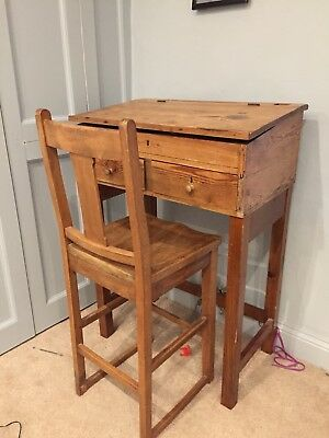Teachers Pitch Pine Desk And Chair