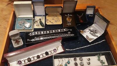 Vintage & Antique Job Lot of Quality Solid Silver Jewellery. Not Scrap