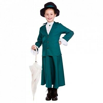 Girls Victorian Mary Nanny Fancy Dress Costume Mary Outfit Book Week 8 9 10 Y