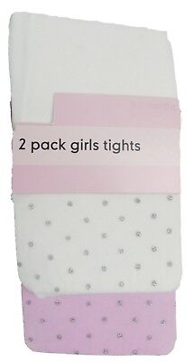 Baby Girl Tights Party Patterned Pastels Cream Pink Silver Opaque