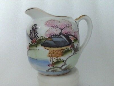 Antique Japanese Kutani Small Jug Fukagawa Mountain Mark C1910 Meiji Period