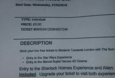 Madame Tussauds Tickets x2 For  Wednesday 21st March 2018