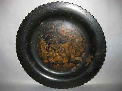 Antique Chinese Lacquer 100 Faces small Dish