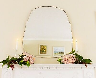 Art Deco Mirror, Frameless Feature Wall Shaped Overmantle Antique Mirror M117