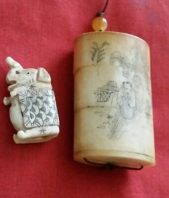 Antique 3 section Bovine bone Inro - 2 people, ojimi bead and elephant netsuke
