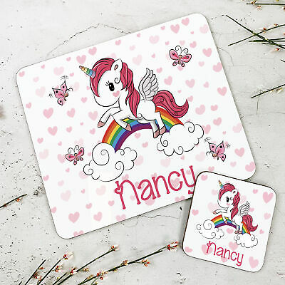 Personalised Kids New Baby Heart Unicorn Wooden Glossy Placemat and Coaster Set